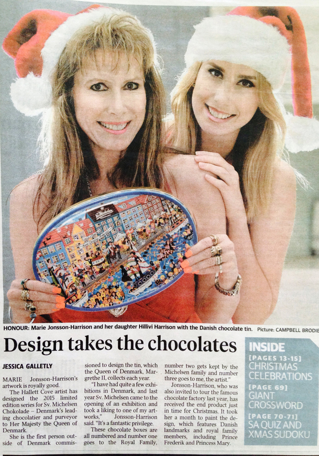 newspaper article and photo of South Australia artist Marie Jonsson-Harrison and daughter Hillivi Harrison with Sv Michelsen chocolate box from Denmark