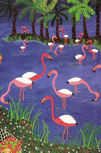 Still life, naive painting of flamingos,artist marie jonsson harrison, detail