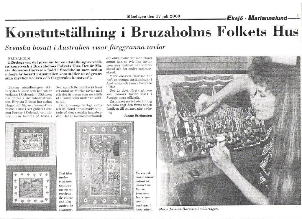 Swedish Newspaper Eksjo-Mariannelund 2000