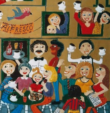 a detail of the artwork Dining Alfresco of a street scene of people dining and having coffee alfresco