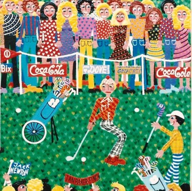 detail of a colorful painting of a golf tournament