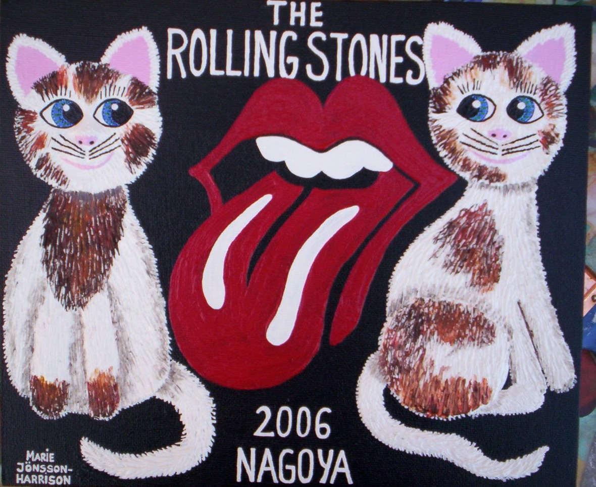 contemporary naive painting of the rolling stones logo and cats